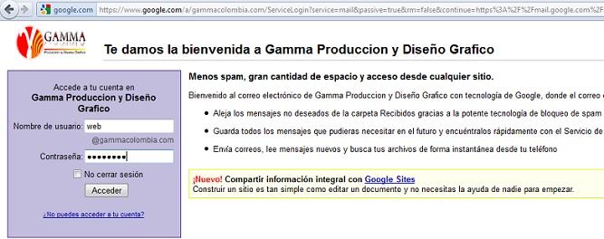 Ingresar al correo de Gamma